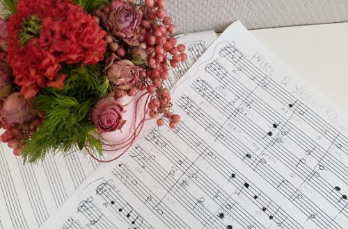 handwritten music with flowers